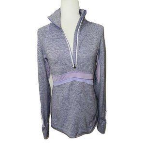 Lululemon Full Tilt Half Zip Pullover Heathered Lilac Purple Wee Stripe Size 8